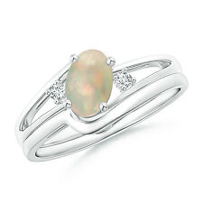 Solitaire Natural Opal Engagement Ring Set without stone Wedding Band 14k Gold