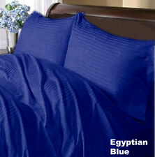 1200TC Soft Egyptian Cotton Complete Bedding Item All UK Size Royal Blue Striped
