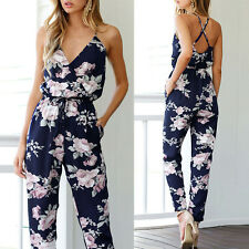 Women Sleeveless V-Neck Floral Pattern Jumpsuit Playsuit Party Trousers Rompers