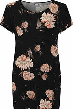 Plus Womens Scoop Neck Long T-Shirt Top Ladies Short Sleeve Floral Print New