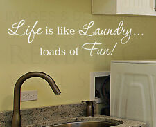 Wall Quote Decal Sticker Vinyl Art Life is Like Laundry Funny Laundry Room LA10