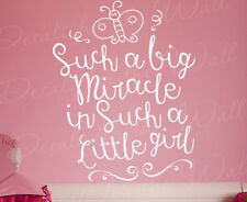 Such A Big Miracle Little Girl Baby Room Nursery Wall Sticker Decal Quote T38