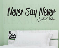 Wall Decal Quote Sticker Vinyl Art Lettering Justin Bieber Never Say Never B83