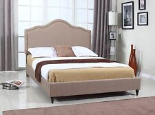 King Queen Twin Full Size Platform Bed Frame Wooden Brown Upholstered Headboard
