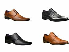 Mens Leather Italian Casual Formal Smart Dress Wedding Shoes Brogue Office Boots