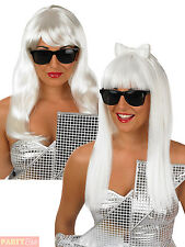 Ladies Long Pop Diva Wig Womens Celebrity Gaga Fancy Dress Costume Accessory