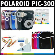 Polaroid PIC-300 Instant Film Analog Camera w/ Film Packs, Pouch, Cleaner, Strap
