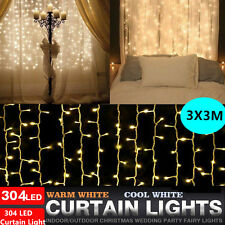 304 LED String Fairy Curtain Lights Xmas Wedding Party Home Garden Decoration