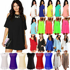 Womens Short Boho Chiffon Mini Dresses Summer Holiday Beach Casual Top Sundress