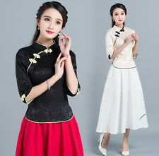 Vintage Chinese Women Top Middle Sleeve T-shirt Blouse Cheongsam QiPao