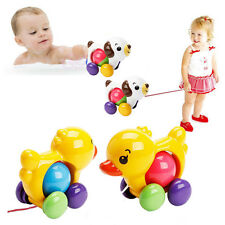 Traditional Pull Along Rattles Duck dog Plastic Toddler Learn Walk Toy baby toy