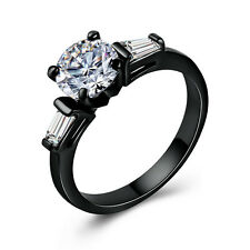 Gorgeous Women 14kt Black Gold Filled Round Cut White Sapphire Ring Size 6-10