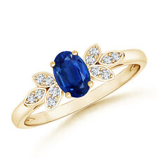 Natural Oval Solitaire Blue Sapphire Ring with Diamond Accents 14K Yellow Gold