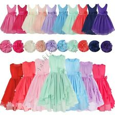 Chiffon Flower Girls Kids Wedding Bridesmaid Party Pageant Graduation Tutu Dress