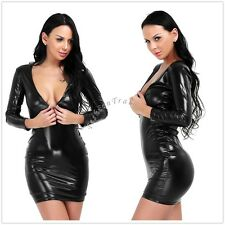Sexy Women's Slim V Neck Shiny Leather Bodycon Night Clubwear Party Pencil Dress