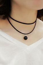 Classic Black bead Pearl Velvet Collar Clavicle choker Necklace Sexy Handmade