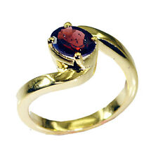 Garnet Copper yummy handcrafted Ring Red L-1in UK K,M,O,Q