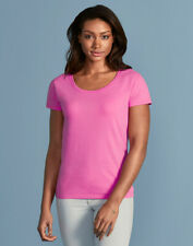 GILDAN LADIES TOP SCOOP NECK 100% SOFT COTTON T-SHIRT PLAIN BASIC COLOURS S-2XL