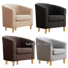 Single Seater Tub Armchair Easy Linen Fabric Chair Sofa Furniture Lounge Settee
