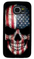 SKULL AMERICAN FLAG PHONE CASE COVER FOR SAMSUNG NOTE & GALAXY S4 S5 S6 S7 S8 S9
