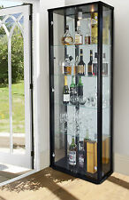 LOCKABLE DOUBLE GLASS DISPLAY CABINET VARIOUS COLOURS WITH LOCK, LIGHT & MIRROR
