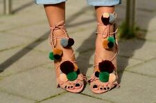 ZARA Suede Leather High Heel Sandals With Pompoms Sold New 6614/101 ALL SIZES