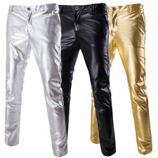 Stylish Men's Long Straight Suit Casual Pants Skinny Korean Dance Trousers Gold