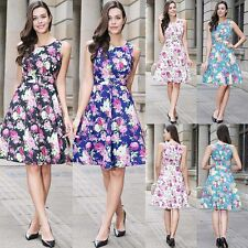 Women's Rockabilly Floral 1950's Vintage Style Retro Evening Party Swing Dress