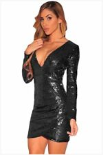 Sequin Decorated Long Sleeve Deep V Neck Knee Length Dress For Women
