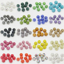 Lots 100X Crystal Rhinestone Pave Clay Disco Ball Loose Spacer Bead Finding 10MM