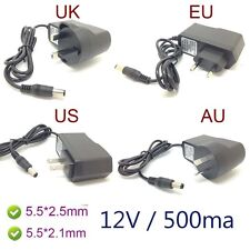 AC charger Converter Adapter DC 12V 500mA  Power Supply 5.5 x 2.1/ 5.5*2.5 MM