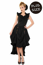 Banned Black Party Dress Long Gothic Victorian Steampunk XXL Plus Size UK