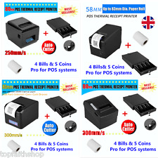 58mm/80mm Thermal Dot Receipt Printer POS Hardware+Cash Drawer Set Paper Roll UK