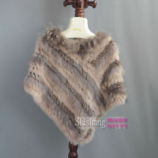 100% Real Knitted Rabbit Fur/raccoon Fur Cape Cape Poncho Stole Shawl Coat Scarf