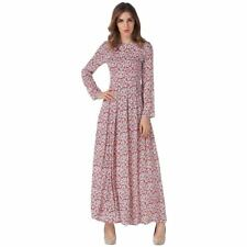Floral Print Maxi Long Ankle Length Long Sleeve Spring Vintage Dress For Women