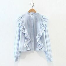 Women Spring Fashion Striped Long Sleeved Stand Collar Blue Color Blouse