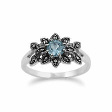 Gemondo 925 Sterling Silver Floral Art Deco Blue Topaz & Marcasite Ring