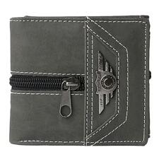 Gents Canvas Money Clip Slim Wallets 3 Cards Case Holder Snap Closure