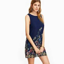 Women New Arrival Navy Color Keyhole Back Flower Print O-Neck Sleeveless Dress