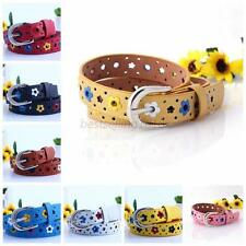 KIDS BOYS GIRLS Hollow Flower Waistband Faux Leather Belt Silver Buckle Band