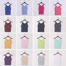 Camisole Slim Bruiser Crop Top Glittering Knitted Stretch Tank Vest Sleeveless