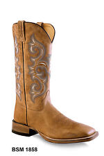Old West Tan Mens Leather 13in Square Toe Cowboy Western Boots Boots