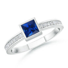 Princess Cut Natural AAAA Blue Sapphire Stackable Promise Ring 14K White Gold