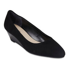 NEW Sandler Henry Black Suede Wedge Court Heels Womens Shoes