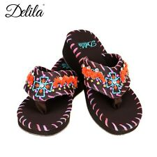 Montana West Delila Leather Embroidered Flip Flops Size 9
