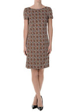 PRADA new Woman Brown Diamond Print Shift Dress Made in Italy NWT