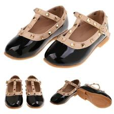 Baby Girls Toddler Kids Sandals Rivet T-strap Flat Shoes Princess Sandals Black