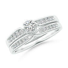 Solitaire Diamond with Accents Engagement & Wedding Band Ring Set 14k White Gold