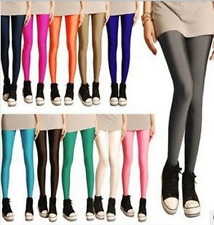 Women Fluorescent Glow Stretch Leggings Neon Candy Shiny Bright Pants 17 Colors