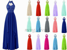 2017 New Stock Formal Prom Halter Party Evening Gowns Chiffon Bridesmaid Dresses